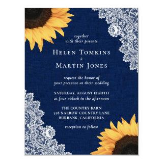 Navy Blue Burlap and Lace Sunflower Wedding Invitation