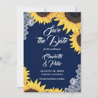 Navy Blue Burlap and Sunflower Save The Date Cards