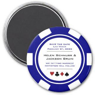Navy Blue Casino Poker Chip Wedding Save The Date Magnet