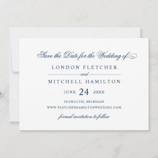 Navy Blue Classic Elegance | Wedding Save The Date