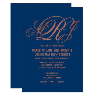Navy Blue Copper Elegant Monogram Script Wedding Invitations