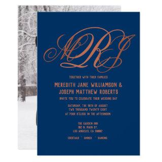 Navy Blue Copper Elegant Monogram Script Wedding Invitation