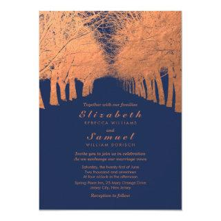 Navy Blue Copper Trees Avenue Wedding Invitations