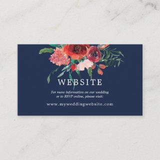 Navy Blue Coral Floral Reception Wedding Website Enclosure Card