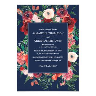 Navy Blue Coral Floral Watercolor Modern Wedding Invitation