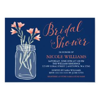 Navy Blue Coral Flowers Mason Jar Bridal Shower Invitations