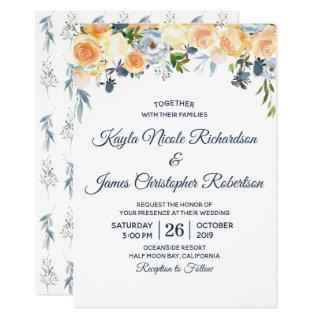 Navy Blue Coral Peach Watercolor Floral Wedding Invitations