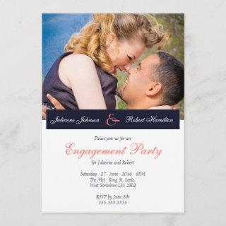 Navy Blue Coral Photo Engagement Party
