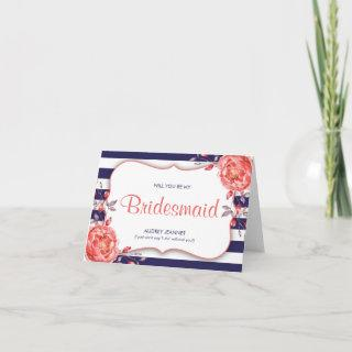 Navy Blue & Coral Striped Will You Be Bridesmaid Invitations