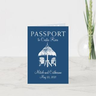 Navy Blue Costa Rica Passport Wedding Invitations