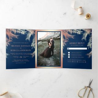 Navy Blue Faux Rose Gold Foil Palm Leaves Wedding Tri-Fold Invitations