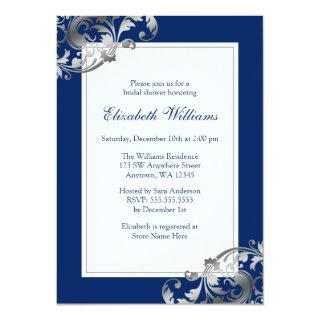 Navy Blue Faux Silver Flourish Swirl Bridal Shower Invitation