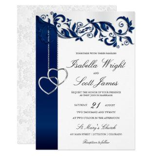 Navy Blue Floral Design Wedding Invitations