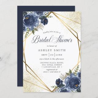 Navy Blue Floral Gold Geometric Bridal Shower Invitation