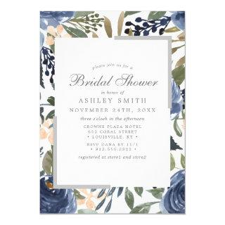 Navy Blue Floral Pattern Watercolor Bridal Shower Invitations