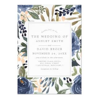 Navy Blue Floral Pattern Watercolor Wedding Invitations