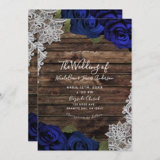 Navy Blue Floral Roses Rustic Wood Lace Wedding Invitation