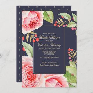 Navy Blue Floral Watercolor Bridal Shower Invitations