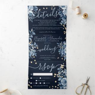Navy blue floral watercolor chic gold wedding Tri-Fold Invitations