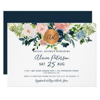 Navy blue floral watercolor monogram bridal shower Invitations