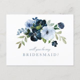 navy blue floral will you be my bridesmaid card