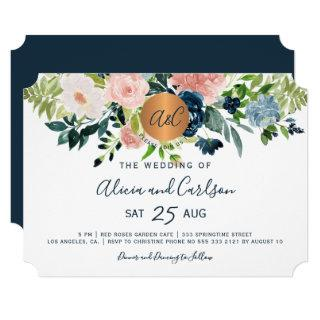 Navy blue flowers chic monogrammed wedding Invitations