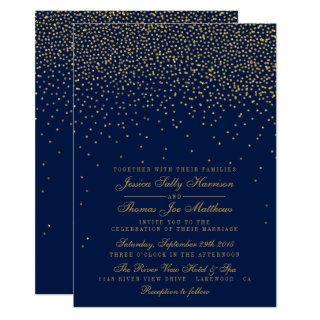 Navy Blue & Glam Gold Confetti Wedding Invitations