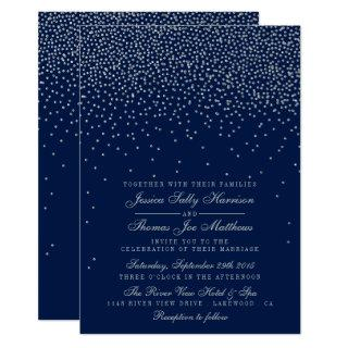 Navy Blue & Glam Silver Confetti Wedding Invitations