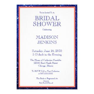 Navy Blue Glitter Coral Framed Bridal Shower Invitations