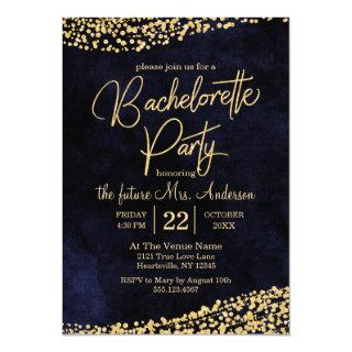 Navy Blue & Gold Bachelorette Party Invitations