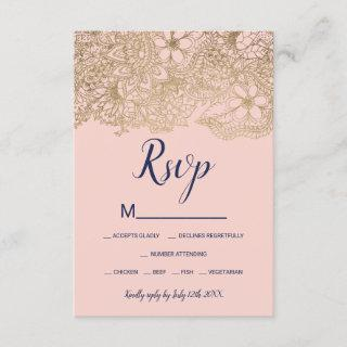 Navy blue gold blush floral typography chic rsvp