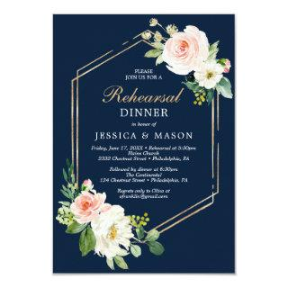 Navy Blue Gold Blush Rehearsal Dinner Invite Card