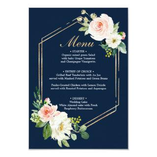 Navy Blue Gold Blush Wedding Menu or Bridal Shower Invitation
