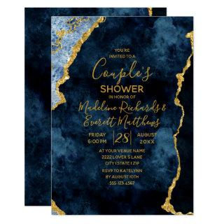 Navy Blue Gold Couple's Wedding Shower Invitation