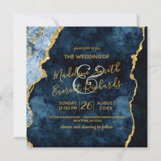 Navy Blue Gold Foil Agate Gilt Wedding Invitations