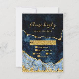 Navy Blue Gold Foil Agate Gilt Wedding RSVP Reply