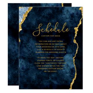 Navy Blue Gold Foil Agate Marble Wedding Schedule Invitation