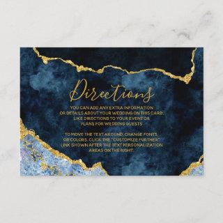 Navy Blue Gold Foil Agate Wedding Directions Enclosure Card