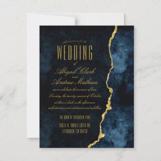 Navy Blue & Gold Foil Agate Wedding Invitations