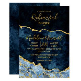 Navy Blue Gold Foil Agate Wedding Rehearsal Dinner Invitation