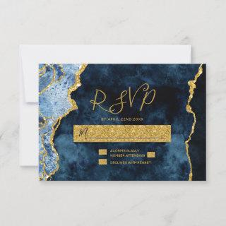 Navy Blue Gold Foil Agate Wedding RSVP Response