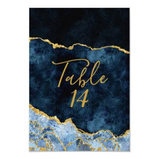 Navy Blue Gold Foil Agate Wedding Table Numbers