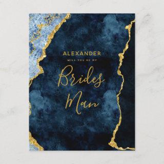 Navy Blue Gold Foil Agate Will You Be My Bridesman Invitation