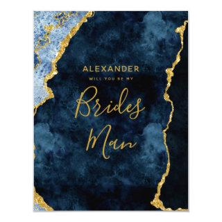 Navy Blue Gold Foil Agate Will You Be My Bridesman Invitations