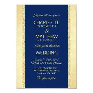 Navy Blue Gold Foil Glitter Wedding Invitation