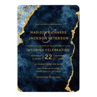 Navy Blue Gold Foil Marble Wedding Invitations