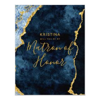 Navy Blue Gold Foil Will You Be My Matron of Honor Invitation