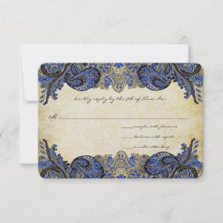 Navy Blue Gold Paisley Peacock Colors Wedding RSVP