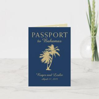 Navy Blue Gold Palm Tree Bahamas Wedding Passport Invitation