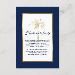 Navy Blue Gold Palm Tree Wedding Health and Safety Enclosure Card